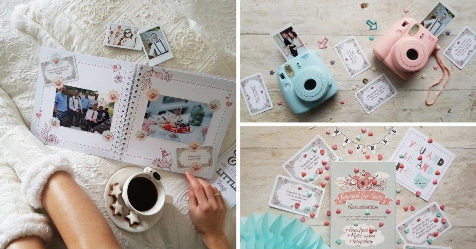 Fotospiel snaPmee Beispiel mit Fotobuch und Polaroids