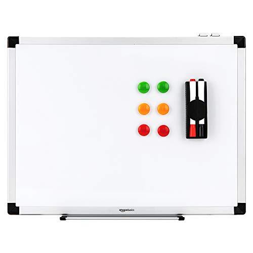AmazonBasics Magnetisches Whiteboard mit Stiftablage und Aluminiumleisten, trocken abwischbar, 60 cm x 45 cm (B x H)