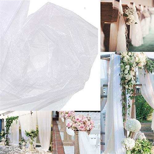 Amycute 2 Stücke 5 m Rolle Tüllstoff weiß Tüll Tülldekostoff für Brautschleier, Schleifen Schärpe, Tüllrock, Tischläufer, Hochzeit und Party Deko.