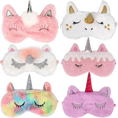 Bascolor 6Stk Einhorn Schlafmaske Kinder Süße Schlafmaske Lustig Augenmaske Kinder Tieraugenmaske Einhorn Augenbinde Plüsch Schlafbrille Augenabdeckung für Mädchen Damen