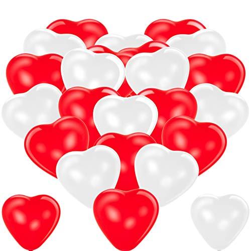 Premium Herzluftballons Rot Weiß 50 Stück. Je 25 Luftballons. XL Größe 30cm. Die Ballons mit Edler Herzform dienen als hochwertige Deko. Die Herzen sind mit Luft oder Helium füllbar