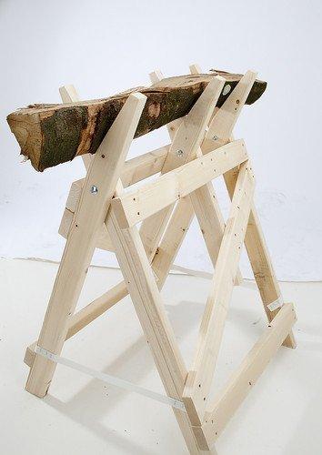 Profi-Sägebockbock - stabile Bauweise -Fichten / Tannen-Holz massiv - fertig montiert - naturbelassen / unbehandelt 100 kg belastbar / Größe H/B/ 1000x650 mm Made in Germany
