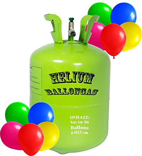 trendmile Premium Heliumflasche Ballongas für bis zu 30 Luftballons a´23cm - Helium Gas Ballons (1x Ballongas)