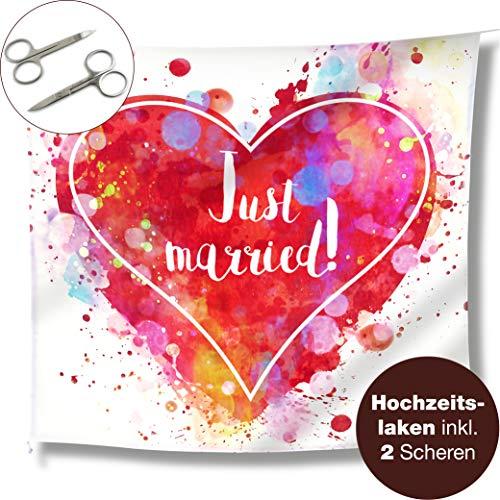 WeddingTree Hochzeitsherz zum Ausschneiden und 2 Scheren - Just Married Hochzeitslaken - Spiel für das Brautpaar - Fotomotiv Deko (Farbenfroh)