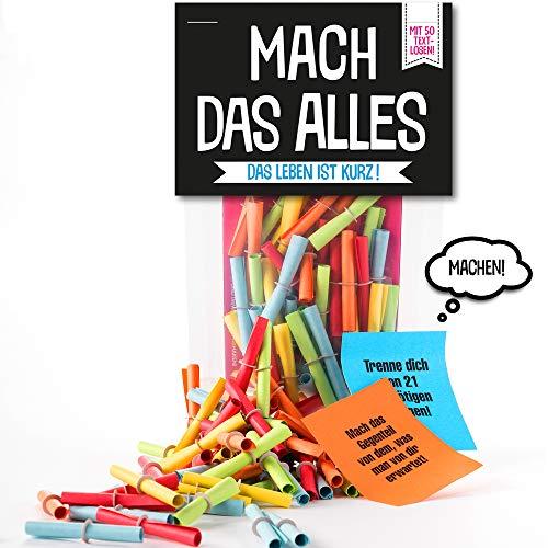 Monsterzeug Lostüte mit 50 bunten Losen, Mach das Alles Verlosungsspiel, Papierlose mit Challenges, Textlose mit Aufgaben